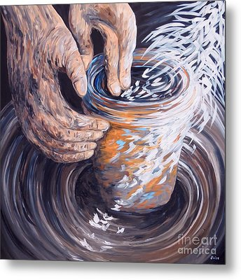 In The Potter's Hands Metal Print by Eloise Schneider