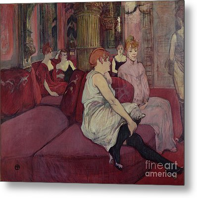 In The Salon At The Rue Des Moulins Metal Print by Henri de Toulouse-Lautrec