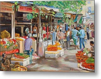 India Flower Market Street Metal Print by Dominique Amendola