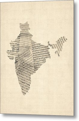 India Map, Old Sheet Music Map Of India Metal Print by Michael Tompsett