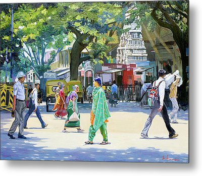 India Street Scene 2 Metal Print by Dominique Amendola