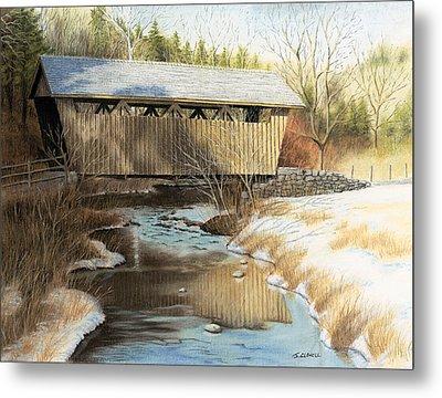 Indian Creek Covered Bridge Metal Print by James Clewell