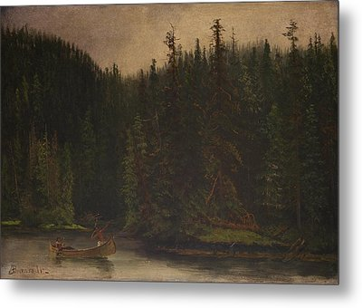 Indian  Hunters  In  Canoe Metal Print by Celestial Images