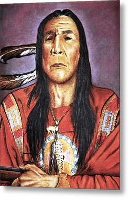 Indian With Rifle Metal Print by Martin Howard