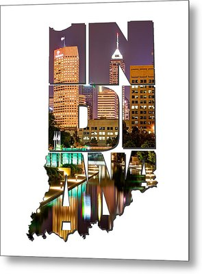Indiana Typography - Indianapolis Skyline - Canal Walk Bridge View Metal Print by Gregory Ballos