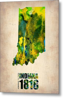 Indiana Watercolor Map Metal Print by Naxart Studio