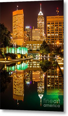 Indianapolis Skyline At Night Canal Reflection Picture Metal Print by Paul Velgos