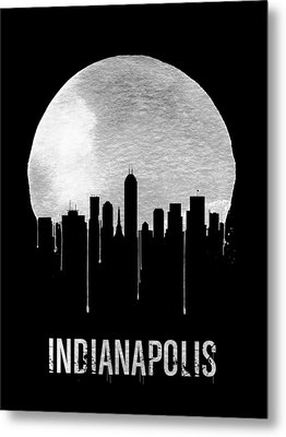 Indianapolis Skyline Black Metal Print by Naxart Studio