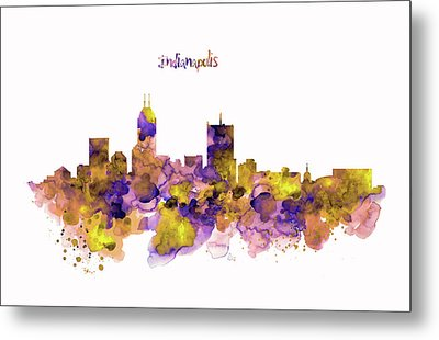 Indianapolis Skyline Silhouette Metal Print by Marian Voicu