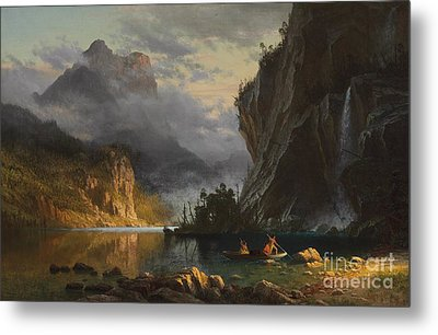 Indians Spear Fishing Metal Print by Albert Bierstadt