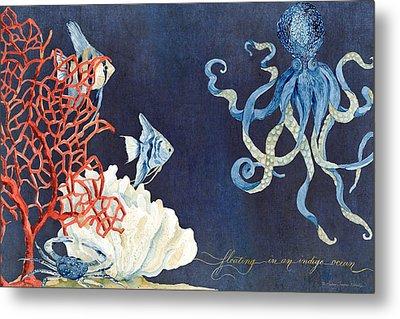 Indigo Ocean - Floating Octopus Metal Print by Audrey Jeanne Roberts