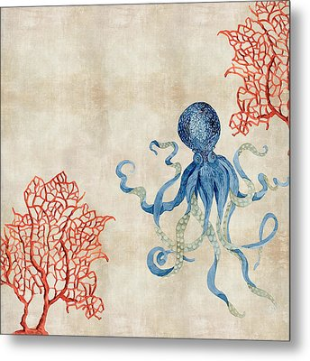 Indigo Ocean - Octopus Floating Amid Red Fan Coral Metal Print by Audrey Jeanne Roberts