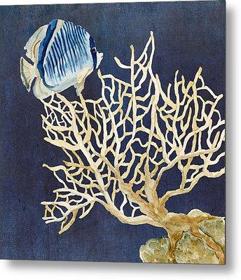 Indigo Ocean - Tan Fan Coral N Angelfish Metal Print by Audrey Jeanne Roberts