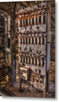 Industrial Electrical Panel II Metal Print by Susan Candelario