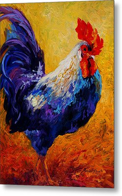 Indy - Rooster Metal Print by Marion Rose