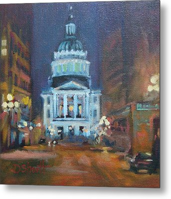 Indy Government Night Metal Print by Donna Shortt