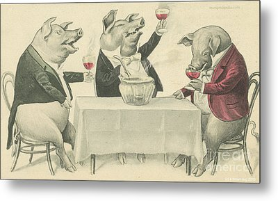 Ine Food And Song With Boars Metal Print by Artist from the past