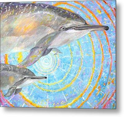 Infinite Dolphin Universe Metal Print by Tamara Tavernier