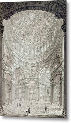 Interior Of Saint Pauls Cathedral Metal Print by John Coney