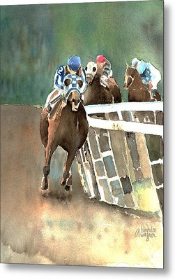 Into The Stretch And Headed For Home-secretariat Metal Print by Arline Wagner