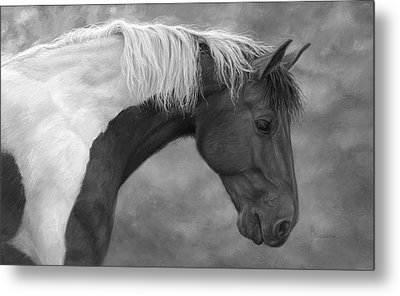 Intrigued - Black And White Metal Print by Lucie Bilodeau