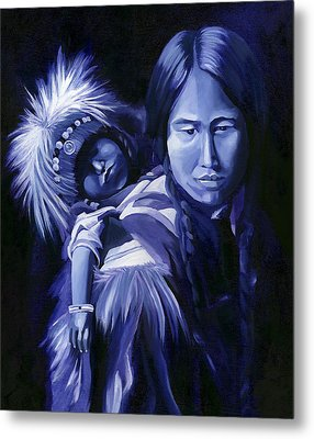 Inuit Mother And Child Metal Print by Nancy Griswold