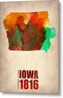 Iowa Watercolor Map Metal Print by Naxart Studio