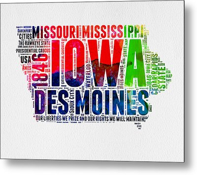 Iowa Watercolor Word Cloud  Metal Print by Naxart Studio