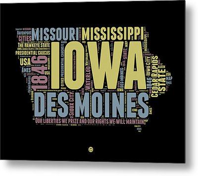 Iowa Word Cloud 1 Metal Print by Naxart Studio