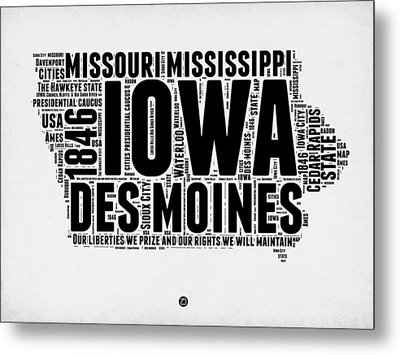Iowa Word Cloud 2 Metal Print by Naxart Studio