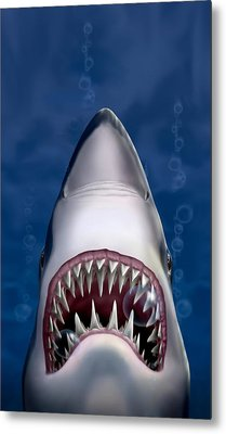 iPhone - Galaxy Case - Jaws Great White Shark Art Metal Print by Walt Curlee
