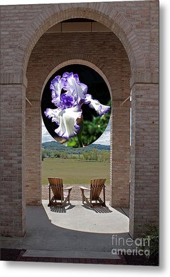 Iris In Portico Metal Print by Robert Sander