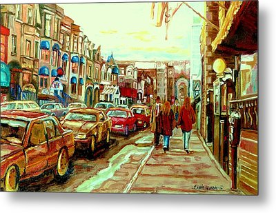 Irish Pubs And Bistros Downtown Montreal Metal Print by Carole Spandau