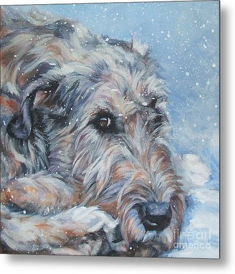 Irish Wolfhound Resting Metal Print by Lee Ann Shepard