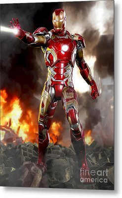 Iron Man - No Battle Damage Metal Print by Paul Tagliamonte
