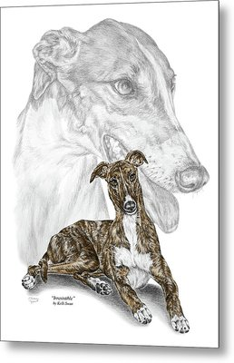 Irresistible - Greyhound Dog Print Color Tinted Metal Print by Kelli Swan