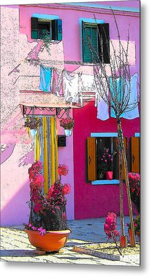 Island Of Burano Houses - The Washing Line Metal Print by Jan Matson