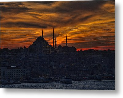 Istanbul Sunset - A Call To Prayer Metal Print by David Smith