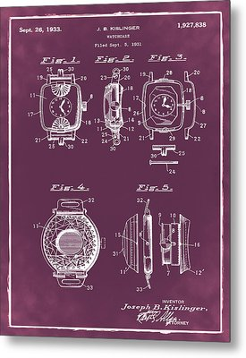 J B Kislinger Watch Patent 1933 Red Metal Print by Bill Cannon