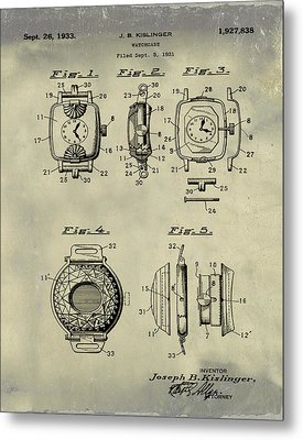 J B Kislinger Watch Patent 1933 Weathered Metal Print by Bill Cannon