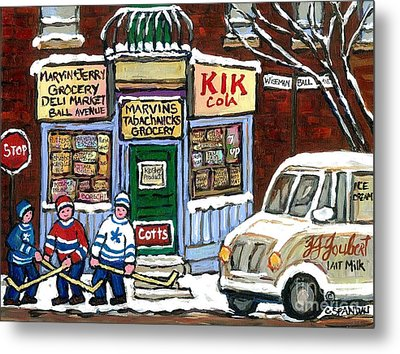 J J Joubert Vintage Milk Truck At Marvin's Grocery Montreal Memories Street Hockey Best Hockey Art Metal Print by Carole Spandau