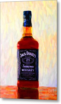 Jack Daniel's Tennessee Whiskey 80 Proof - Version 1 - Painterly Metal Print by Wingsdomain Art and Photography