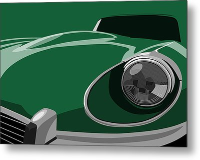 Jaguar E-type Metal Print by Michael Tompsett