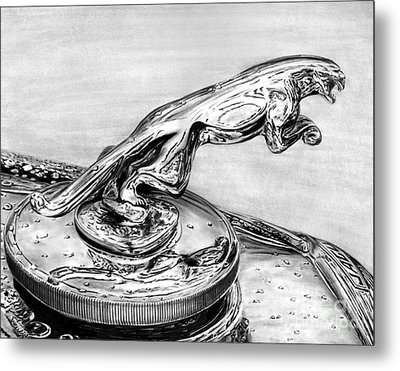 Jaguar Hood Emblem     Metal Print by Peter Piatt