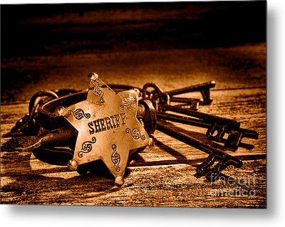 Jailer Tools - Sepia Metal Print by Olivier Le Queinec