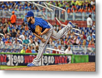Jake Arrieta Chicago Cubs Pitcher Metal Print by Marvin Blaine