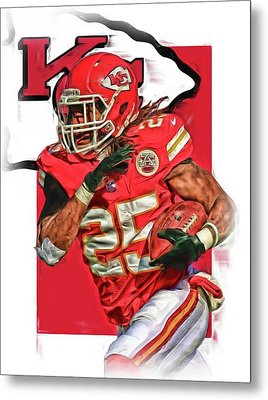 Jamaal Charles Kansas City Chiefs Oil Art Metal Print by Joe Hamilton