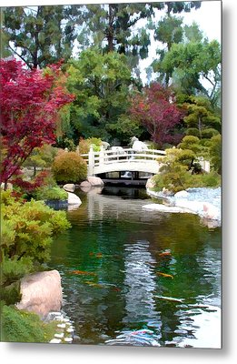 Japanese Garden Bridge And Koi Pond Metal Print by Elaine Plesser