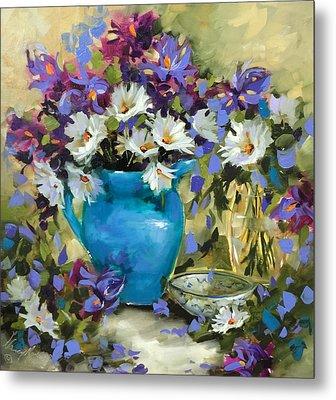 Japanese Iris And Daisies Metal Print by Nancy Medina