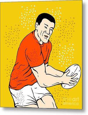 Japanese Rugby Player Passing Ball Metal Print by Aloysius Patrimonio